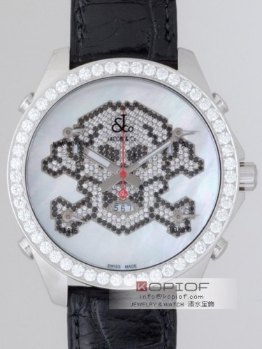 ジェイコブ ファイブタイムゾーン スーパーコピーJC-SKULL7D 1重ベゼルダイヤ 47mm ホワイトシェル/ダイヤ