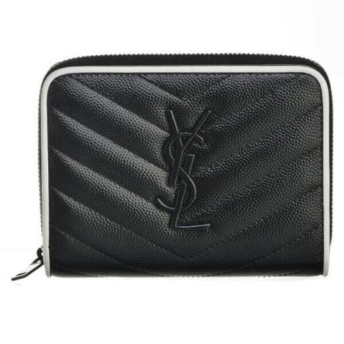 サンローラン 財布コピー ラウンド折りたたみ財布 403723 BOWC8 1095 ブラック・ホワイト バイカラーの縁取りとフロントのブランドロゴがアクセントになったラグジュアリーなデザインです