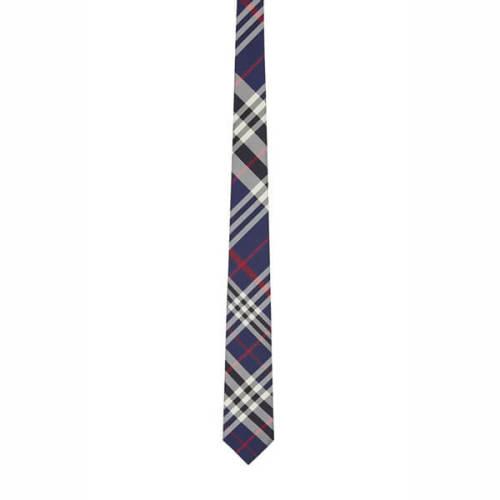 バーバリー ネクタイ 偽物 ブルー チェックパターン シルク ネクタイ