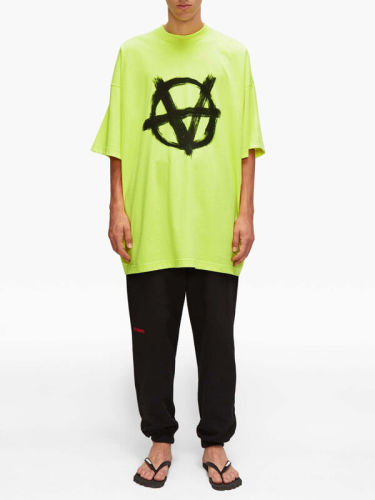 ヴェトモン tシャツ 偽物 VETEMENTS アナーキー ロゴTシャツ イエロー