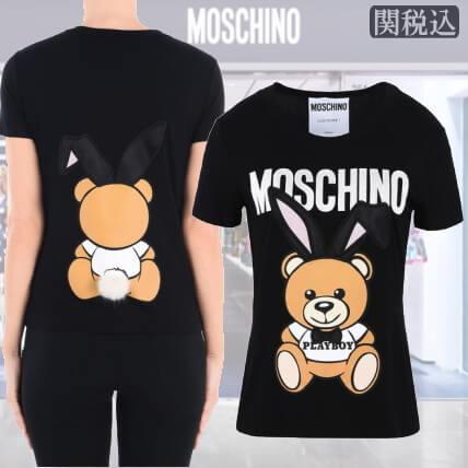モスキーノ コピーMOSCHINO 2018 Teddy Bear PLAYBOY リアル シッポ付 Moschino Tシャツ・カットソーV070205441208