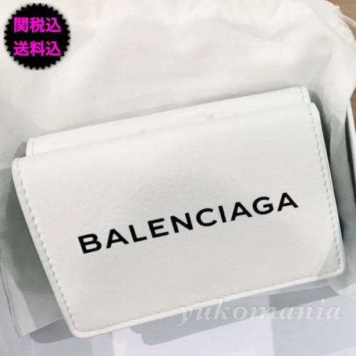 バレンシアガ ミニ財布 コピー ペーパー ミニウォレット WHITE BLACK ロゴ BALENCIAGA 折りたたみ財布 391446DLQ0N6510