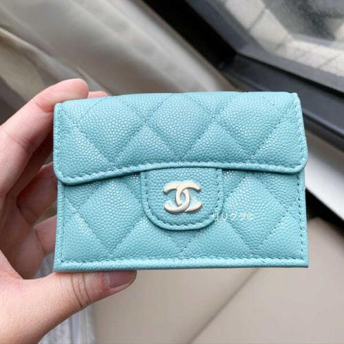 シャネルミニ財布 コピー キャビアスキン三つ折り ブルー A84401
