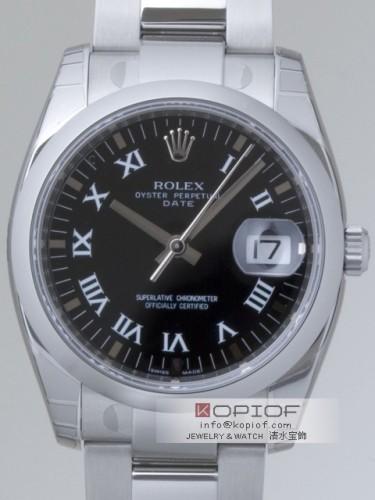 ロレックス パーペチュアル デイト スーパーコピー115200 ブラックプリントローマ