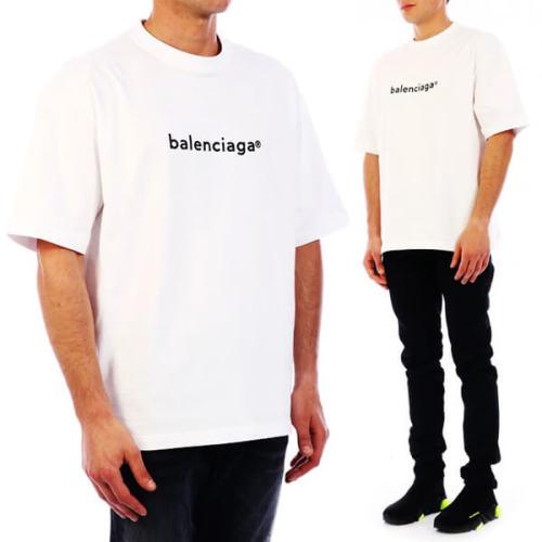 【BALENCIAGA】Logo T-Shirtコピーリブ編みクルーネック612966TIV549040