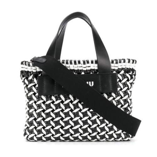 【MiuMiu♪】可愛いヴィシーチェック織り☆ミュウミュウ ハンドバッグ コピー*5BA077_2D3N_F0967_V_OIO(ブラック/ホワイト)