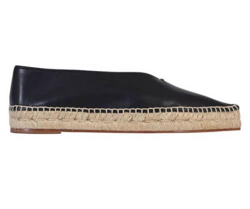 最旬セリーヌ靴コピー ポインテッドエスパドリ−ユ ブラック ラバーソール
