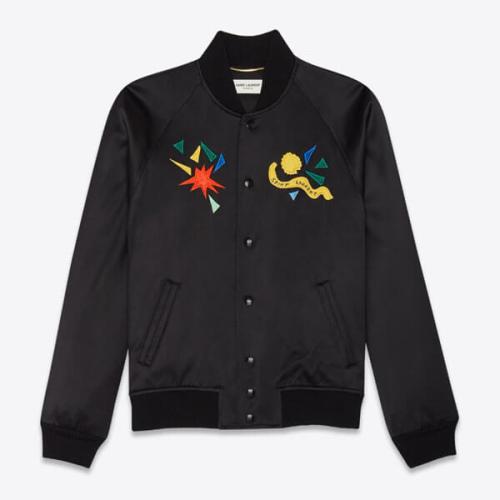 Saint Laurent*LOVE ジャケット 偽物 1983 ロゴ 刺繍 多色 バーシティ