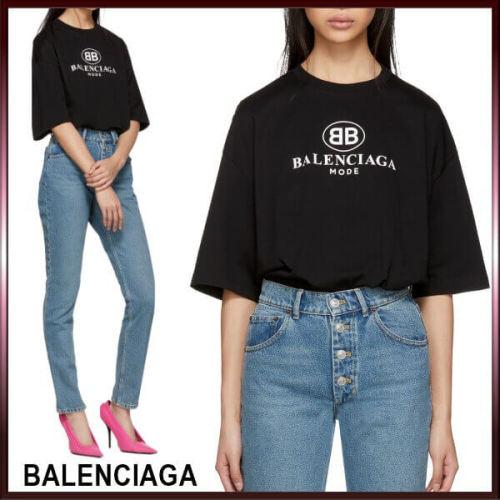 バレンシアガ t シャツ コピー BALENCIAGA オーバーサイズ 黒 'BB Mode'のプリント&ロゴ リブジャージーネックライン