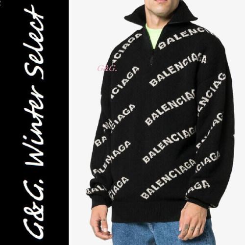 【BALENCIAGA】インターシャロゴ ニットセーター 長袖ハイスタンドカラー リブ編みの裾とカフス