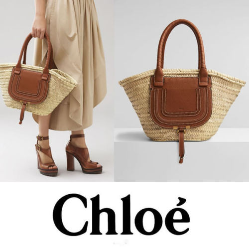 Chloe クロエ かごバッグ コピー ラフィア×レザー マルシェかごバッグ