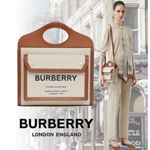 2020SS BURBERRY(バーバリー ポケットバッグ コピー)ミディアム ツートン キャンバス&レザーバッグ