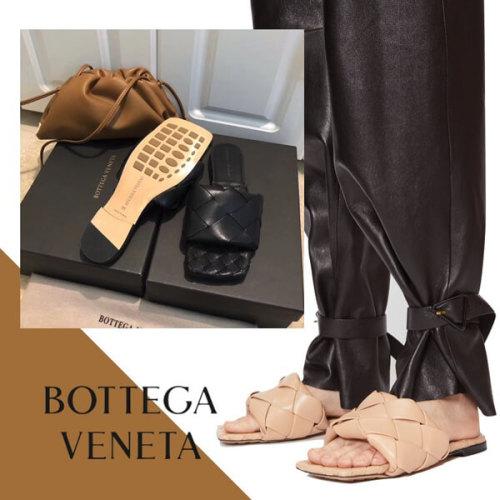 Bottega Veneta BV ボッテガヴェネタ フラットサンダル 偽物 リド レ 編み込み フラットサンダルザー
