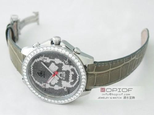 ジェイコブ ファイブタイムゾーン スーパーコピーJC-SKULL8D 1重ベゼルダイヤ 47mm グレー皮 全面ダイヤ