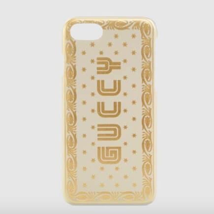 グッチ スマホケース コピー GUCCY プリント iPhone 7 ホワイト ゴールド フレーム スター 519695 0GUYN 8711 プリント入り ブラック レザー
