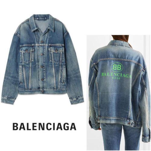 バレンシアガ デニムジャケット ブルー コピー BALENCIAGA 18春夏oversized とネオングリーンのデニム