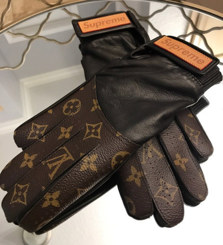 Supreme手袋 シュプリームコピー LOUIS VUITTON 17AW レザーモノグラムグローブ レザー手袋 ブラウン