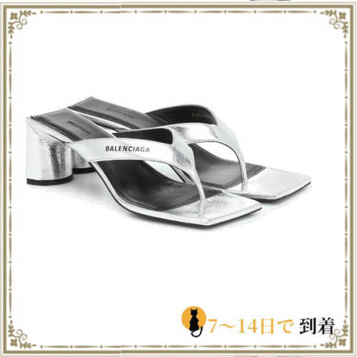 2020SSバレンシアガ サンダル コピー 人気アイテム★Logo leather T-bar sandals