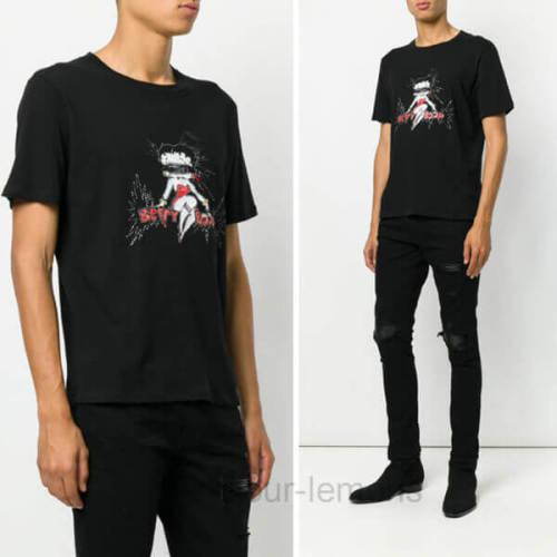 サンローラン Tシャツ コピー Tサンローラン プリント Tシャツ 494151YB1GV グラフィック柄刺繍
