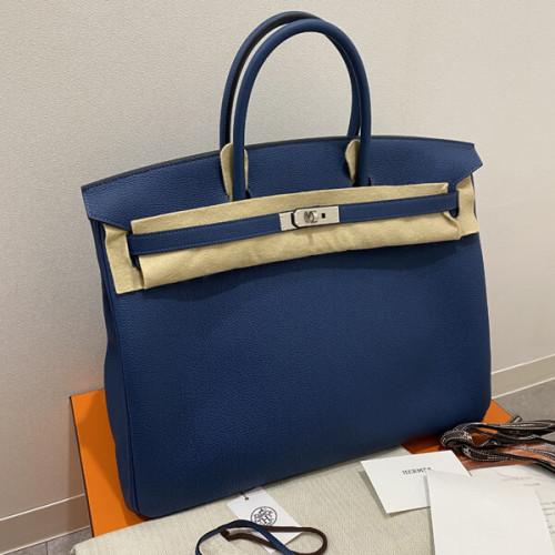 奇跡の入荷!新色バーキン40 DEEP BLUE トゴ 最新刻印 トートバッグ