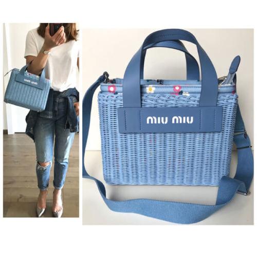 素敵♪♪☆《MiuMiu》2WAY ミュウミュウ かごバッグ コピー ライトブルー×花柄