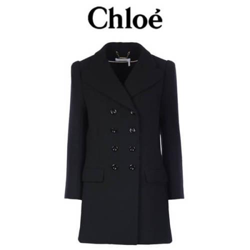 クロエ Chloe ウールクレープロングダブルブレストジャケット クロエ 服 レディース スーパーコピー