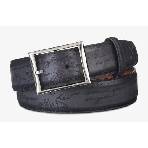 ベルルッティ ベルト コピーBerluti Engraved Calf レザーベルト 35mm ブラック