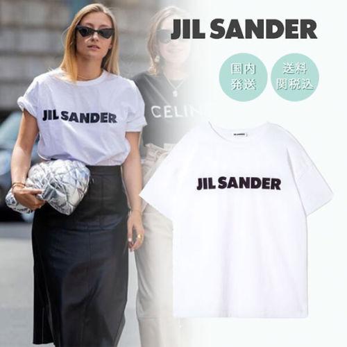 ジルサンダー tシャツ コピー セレブ愛用 JIL SANDER コットンロゴTシャツ ホワイト
