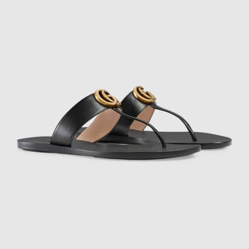 gucci サンダル コピー グッチ ダブルG付 レザー トング LEATHER THONG SANDAL WITH DOUBLE G_497444 A3N00 1000