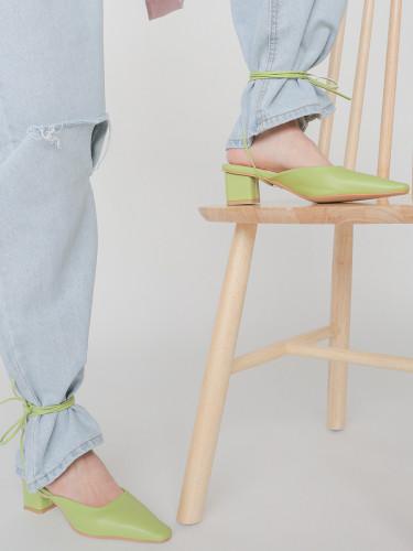 Pointed Toe Wraparound Tie Mules