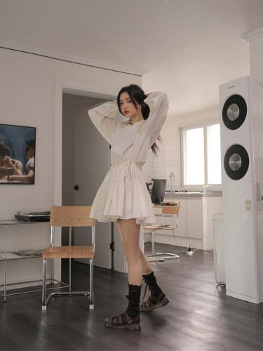 Split Neck Drop Waist Mini Dress