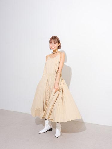 Pleated Sleeveless Long Dress