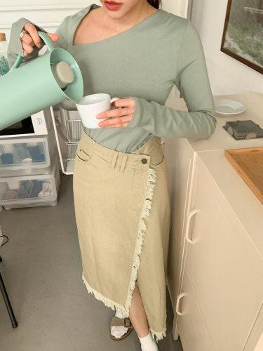 Asymmetric Hem Fringed Wrap Skirt