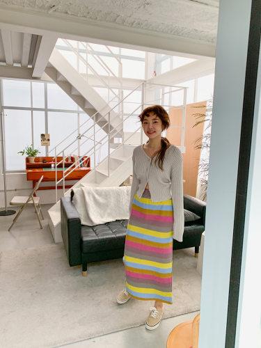 Multicolored Stripe Long Skirt