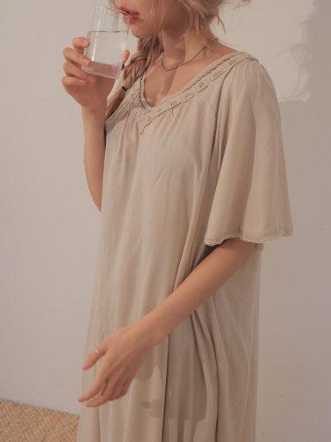 Lace-Trimmed V-Neck Long Dress