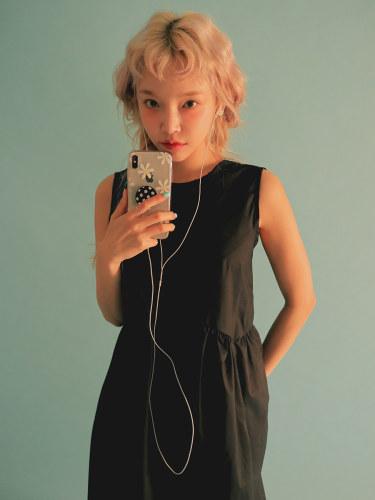 Gathered Waist Sleeveless Long Dress