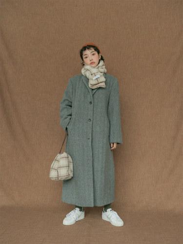 Herringbone Pattern Long Woolen Coat
