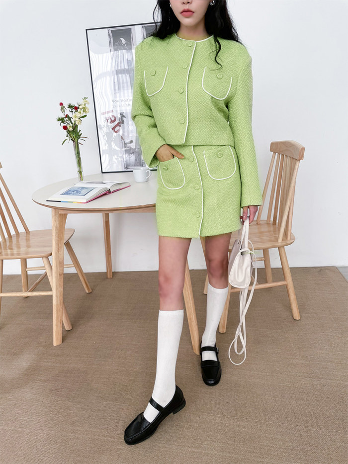 Textured Short Button-Up Jacket