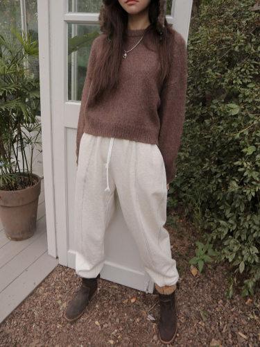 Round Neck Alpaca Blend Sweater