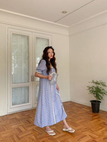 Lace Trim Square Neck Printed Dress