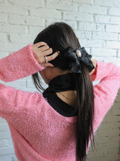 Faux Gem Accent Ribbon Hair Clip