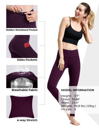 Mulberry yoga pants with pockets