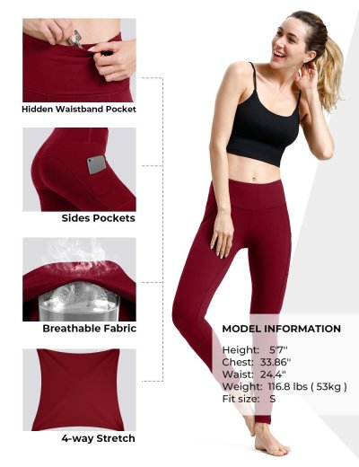 Red yoga pants with pockets