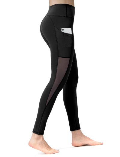 Black Mesh Length Yoga Pants
