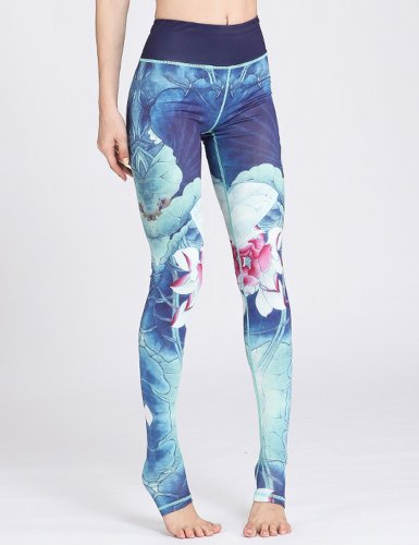 Printed Flower Yoga Pants