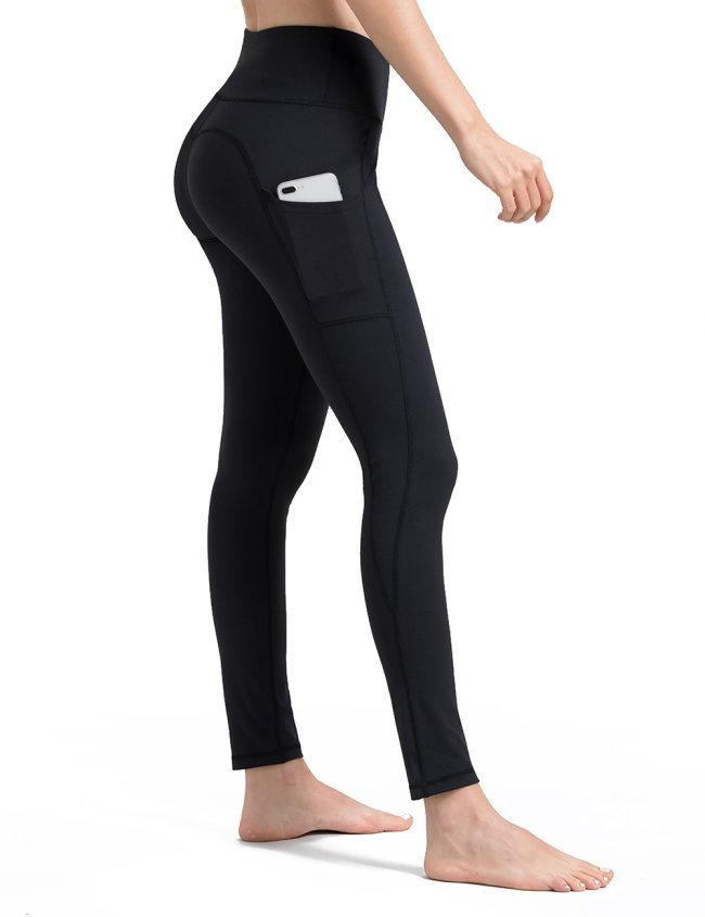 Black yoga pants with pockets