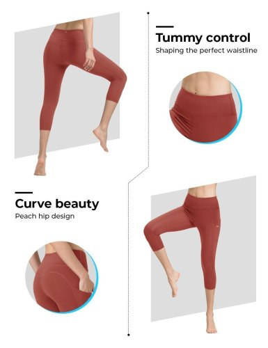 Colar Red Cropped Yoga Pants