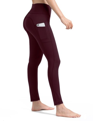 burgundy yoga pants with pockets