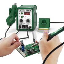 BST-878D Automatic Electronics Repair Phone Hot Air Blower Heat Gun SMD Rework Station Digital Desoldering Soldering Station