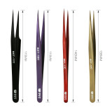 New Material High Quality 304 Stainless Steel Angle Curved Straight Tweezers for Eyelashes Extension